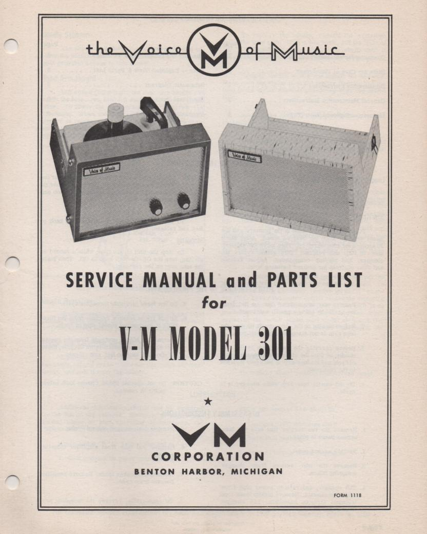 301 Portable Phonograph Service Manual