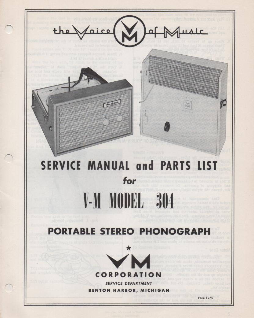 304 Portable Phonograph Service Manual