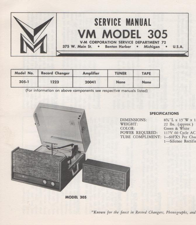 305 Portable Phonograph Service Manual.  comes with 1223 turntable manual and 20041 power unit manual..