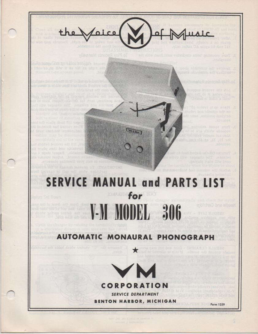 306 Portable Phonograph Service Manual