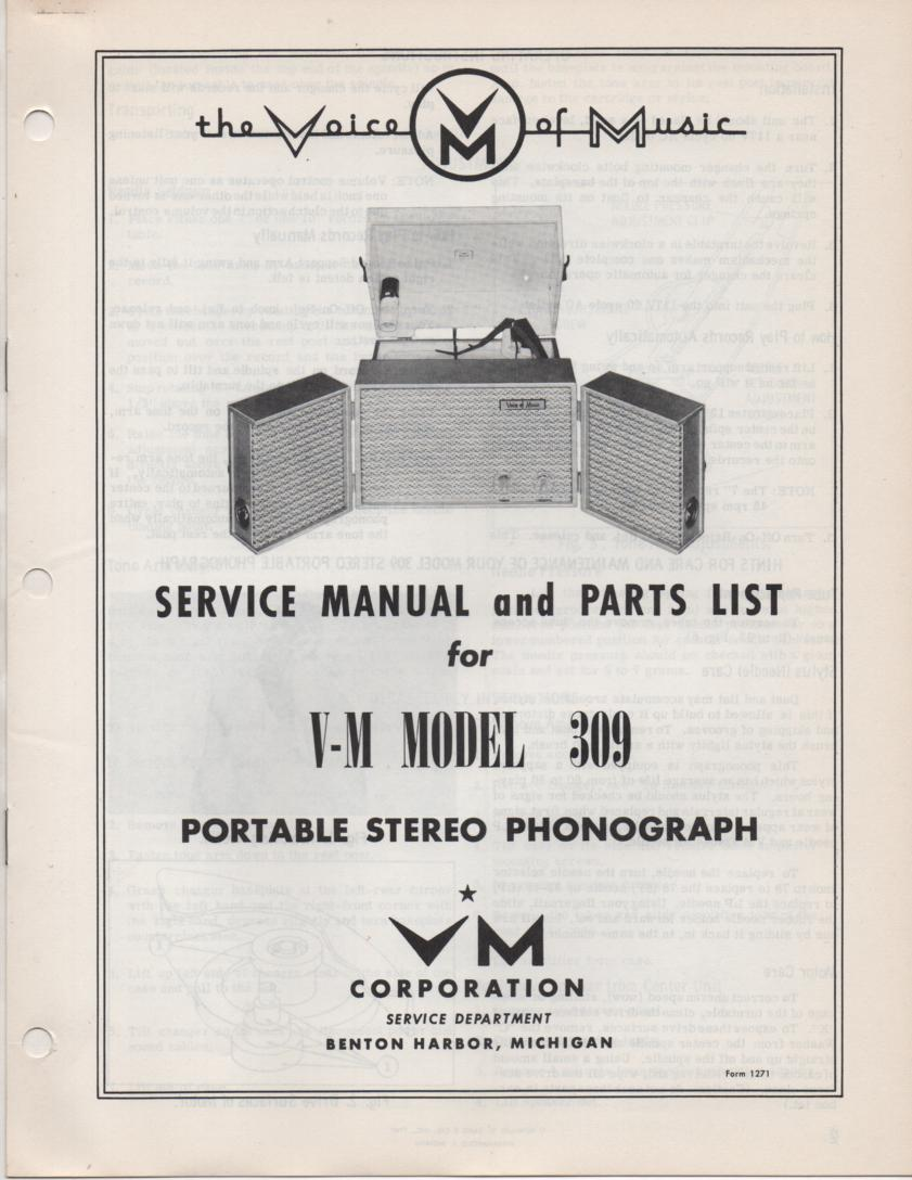 309 Portable Phonograph Service Manual