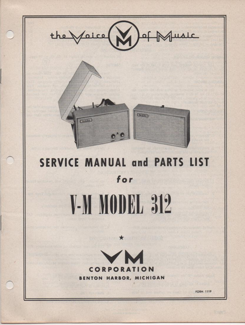 312 Portable Phonograph Service Manual