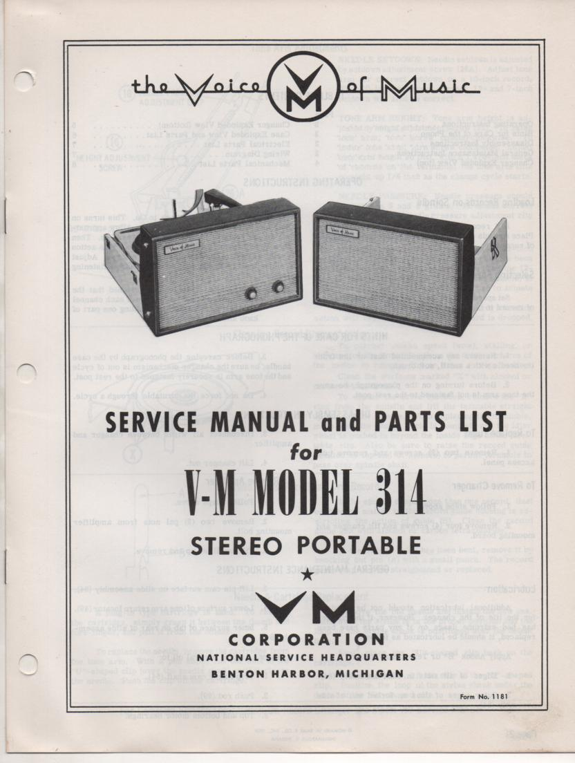 314 Portable Phonograph Service Manual