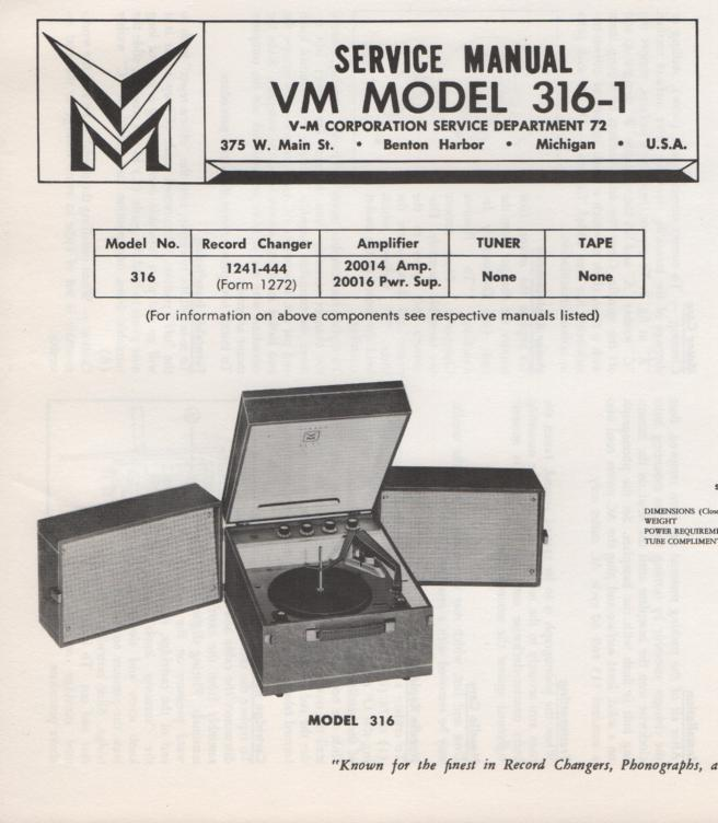 316-1 Portable Phonograph Service Manual...Comes with 20014 20016 power amp manuals..