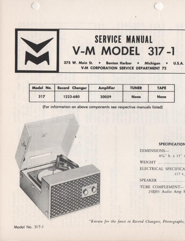 317-1 Portable Phonograph Service Manual.  Comes with 20059 and 1223 manuals..