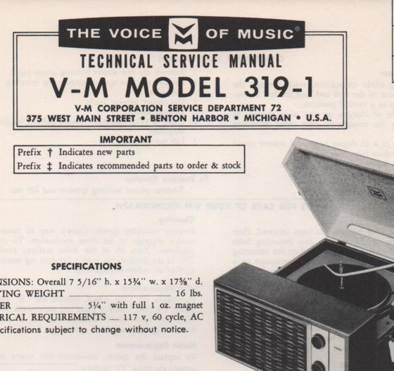 319-1 Portable Phonograph Service Manual Comes with B1257 and 20070 manuals