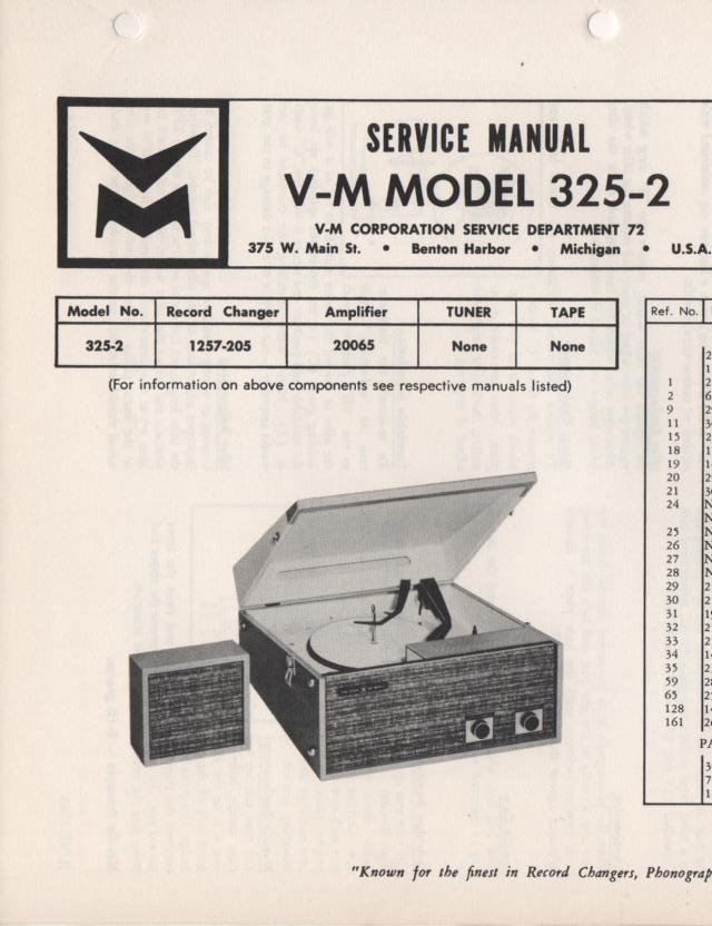 325-2 Portable Phonograph Service Manual Comes with 1257 and 20065 manuals