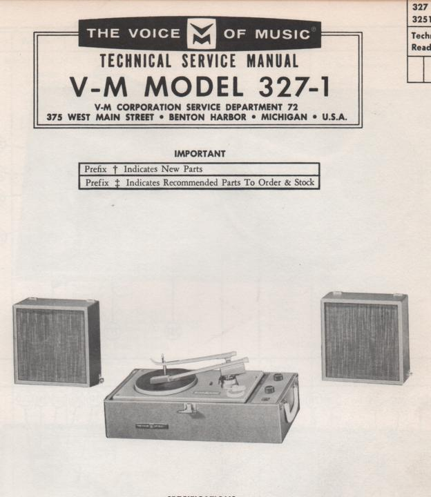 327-1 Phonograph Service Manual. Comes with changer and 20089 manuals.