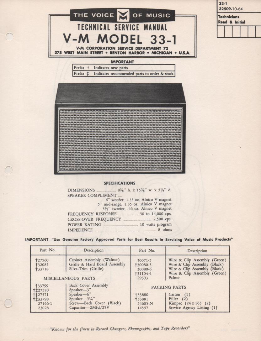 33-1 Speaker Service Manual
