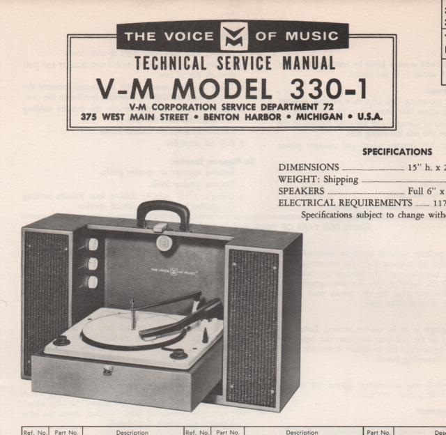 330-1 Phonograph Service Manual.   comes with B1257 and 20076 manuals
