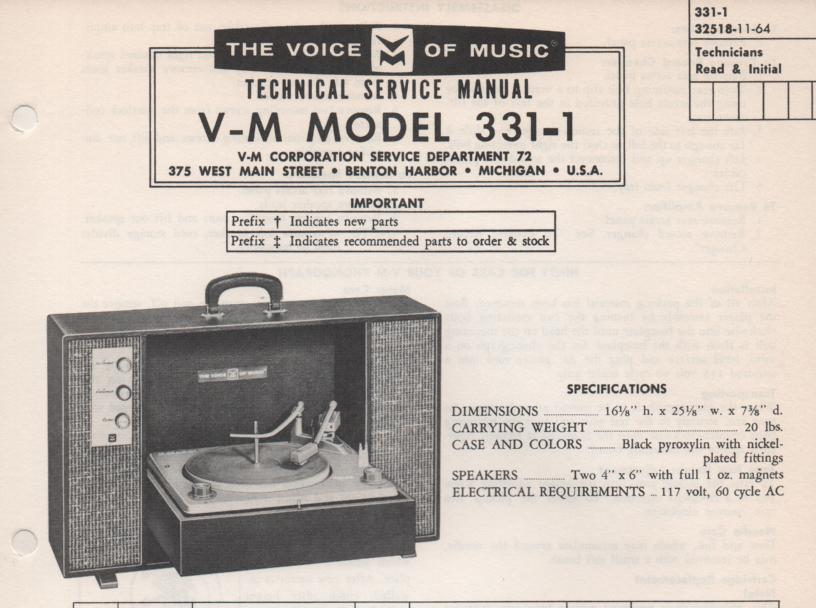 331-1 Phonograph Service Manual . comes with B1257 and 20076 manuals..