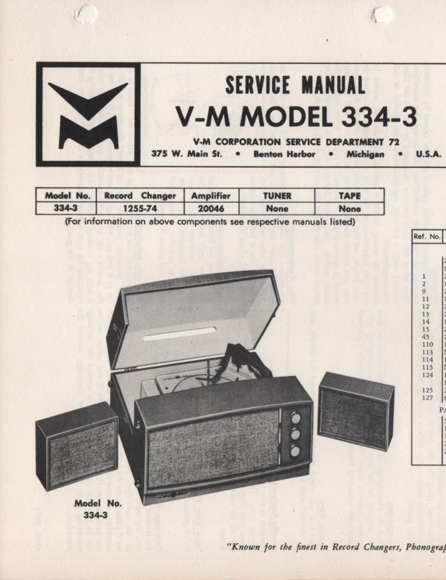 334-3 Portable Phonograph Service Manual Comes with 1255 and 20046 manuals