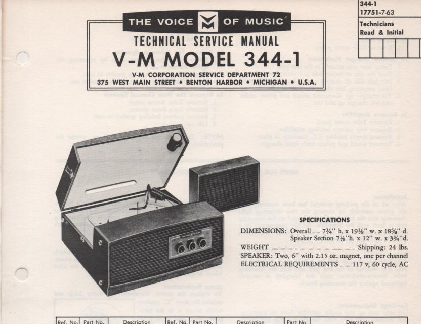 344-1 Portable Phonograph Service Manual Comes with 1257 record changer manual. no amplifier manual