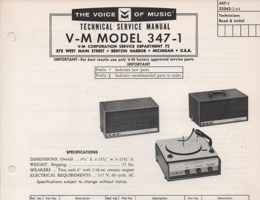 347-1 Portable Phonograph Service Manual Comes with B1257 and 20077 manuals