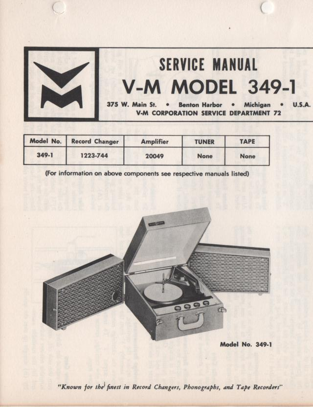 349-1 Portable Phonograph Service Manual Comes with 1223 and 20049 manuals