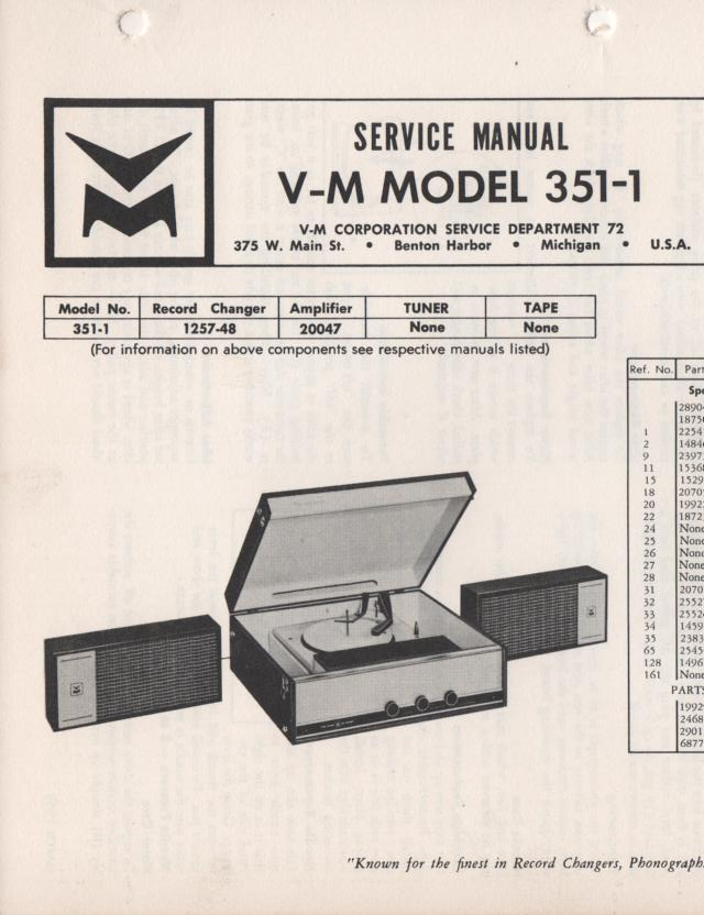 351-1 Portable Phonograph Service Manual Comes with 1257 and 20047 manuals