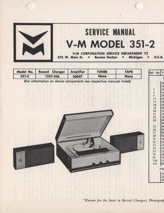 351-2 Portable Phonograph Service Manual Comes with 1257 and 20047 manuals