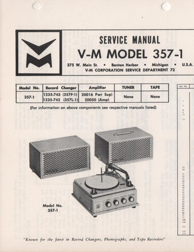 357-1 Portable Phonograph Service Manual Comes with 1235 and 20016 and 20050 manuals
