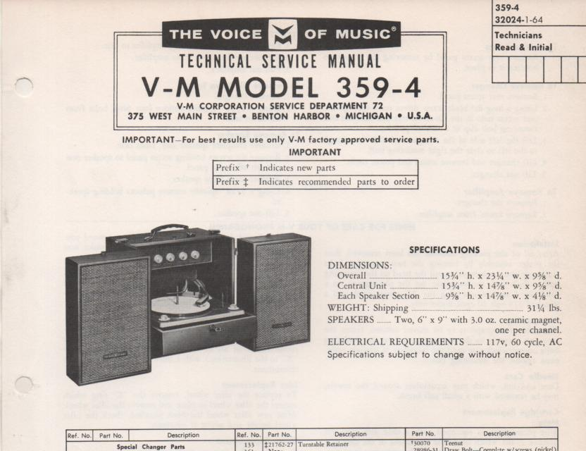 359-4 Portable Phonograph Service Manual Comes with B1257 and 20068 manuals