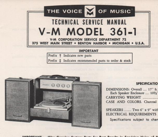361-1 Phonograph Service Manual . comes with B1257 and 20068 manuals..