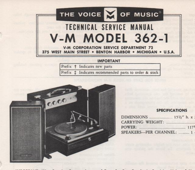362-1 Phonograph Service Manual.   comes with 1297 and 20086 manuals