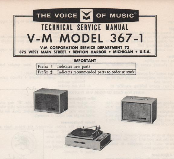 367-1 Phonograph Service Manual.   comes with 20078 20079 and B1256 manuals