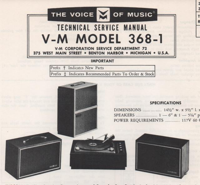 368-1 Phonograph Service Manual. comes with 20087 and 1236 manuals..