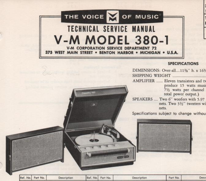 380-1 Phonograph Service Manual .   no 20086 amplifier or 1267 record changer manual