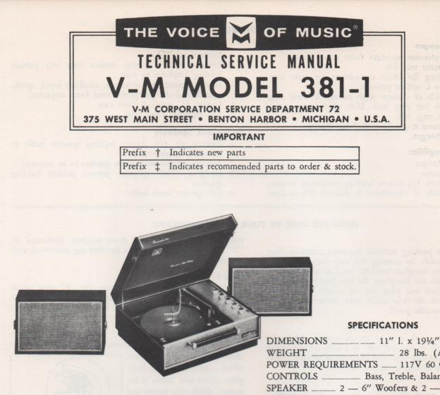 381-1 Phonograph Service Manual .  comes with 1297and 20092 manuals