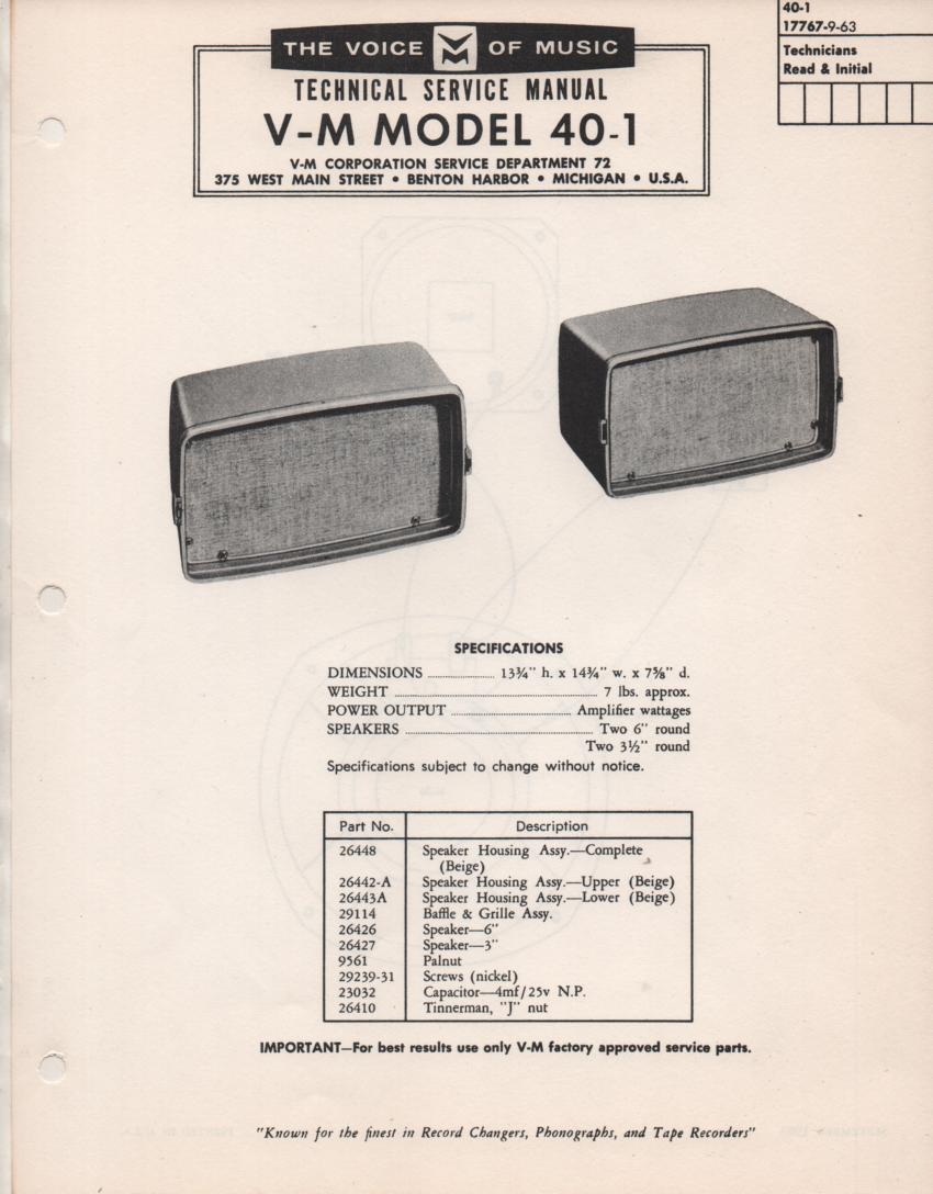 40-1 Speaker Service Manual