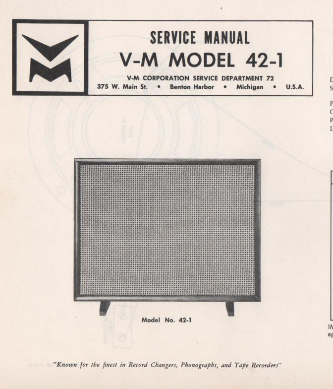 42-1 Speaker Service Manual