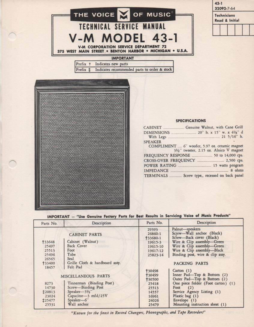 43-1 Speaker Service Manual