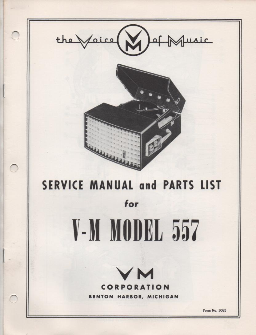 557 Portable Phonograph Service Manual