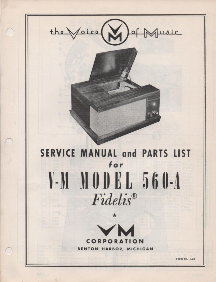 560-A Portable Phonograph Service Manual