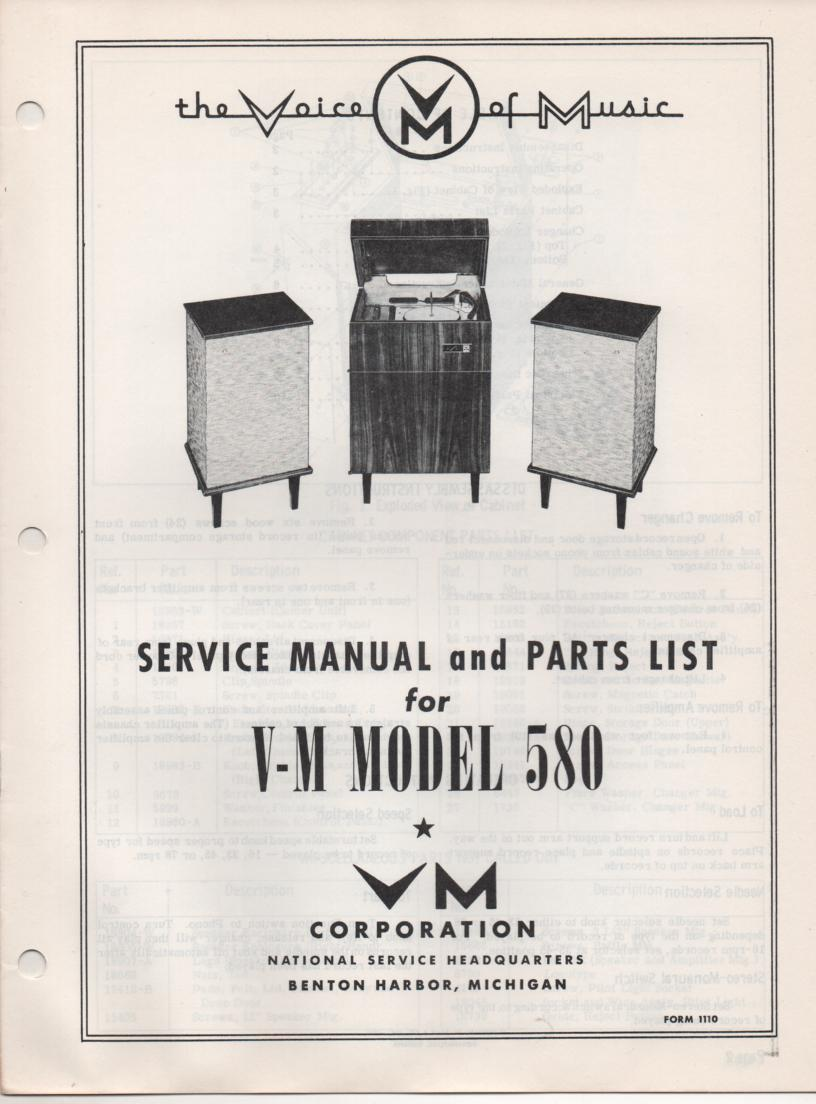 580 Console Phonograph Service Manual