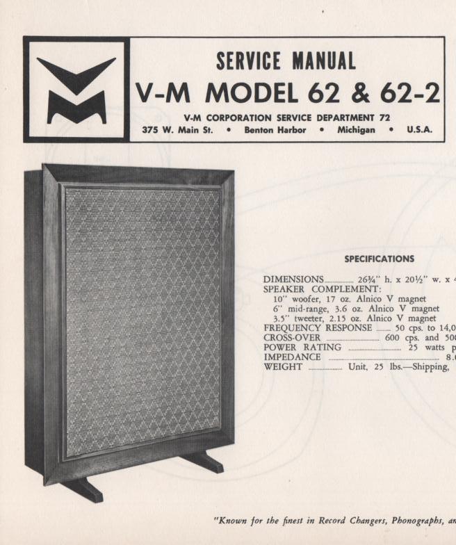 62 Speaker Service Manual