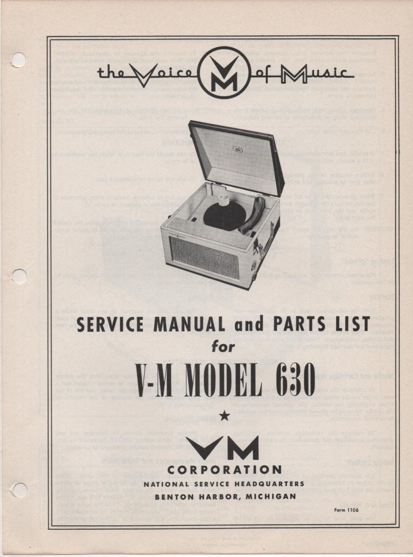 630 Record Player Phonograph Service Manual Comes with 1500 manual