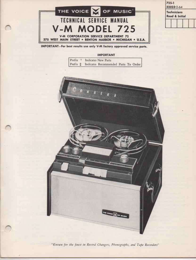 725 Reel to Reel Service Manual  VOICE OF MUSIC