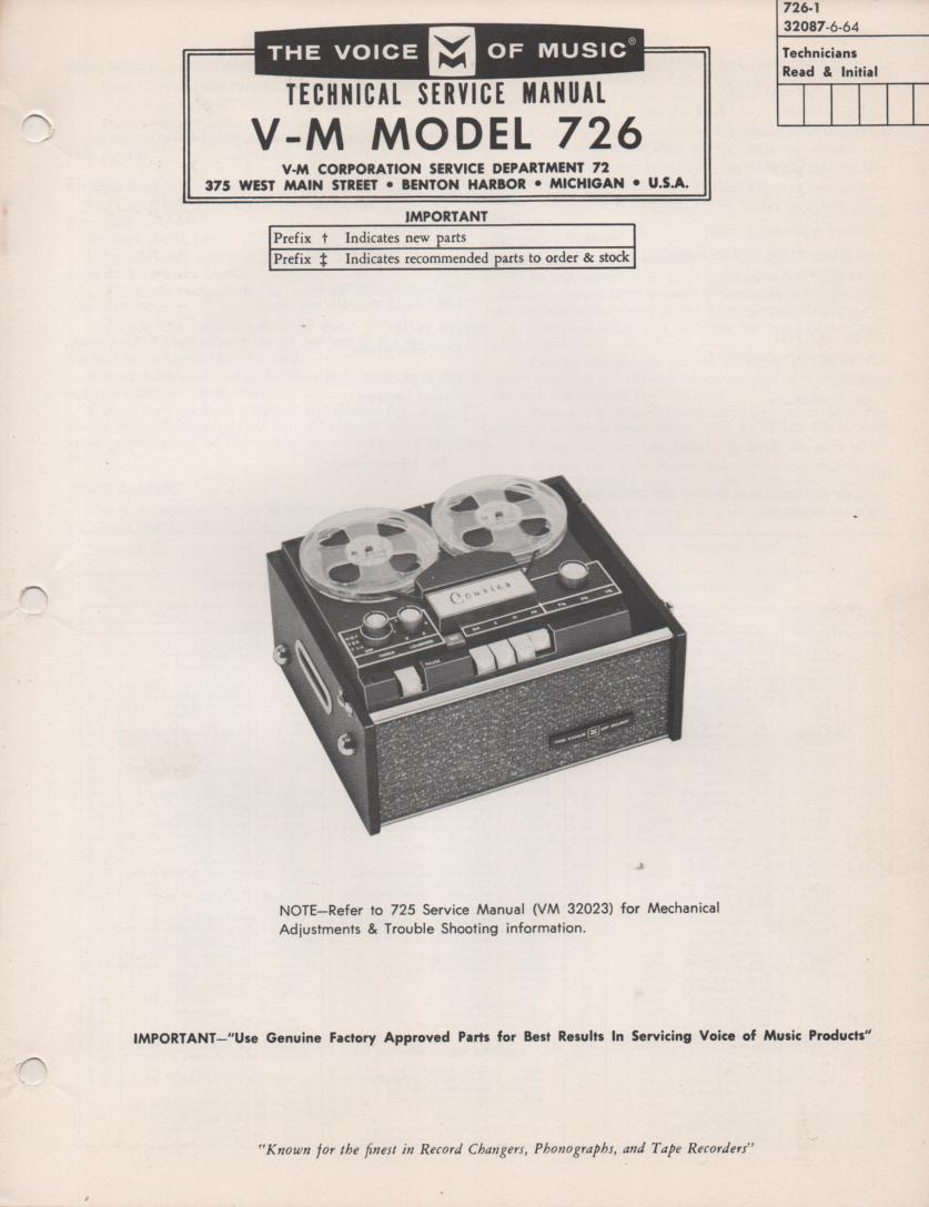 726 Reel to Reel Service Manual  VOICE OF MUSIC
