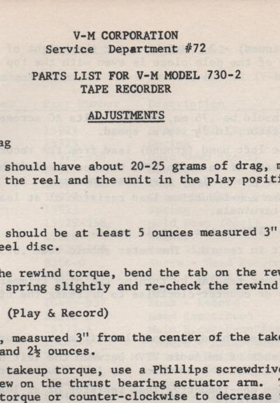 730-2 Reel to Reel Service Manual  VOICE OF MUSIC