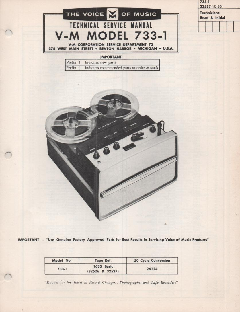 733-1 Reel to Reel Service Manual  VOICE OF MUSIC