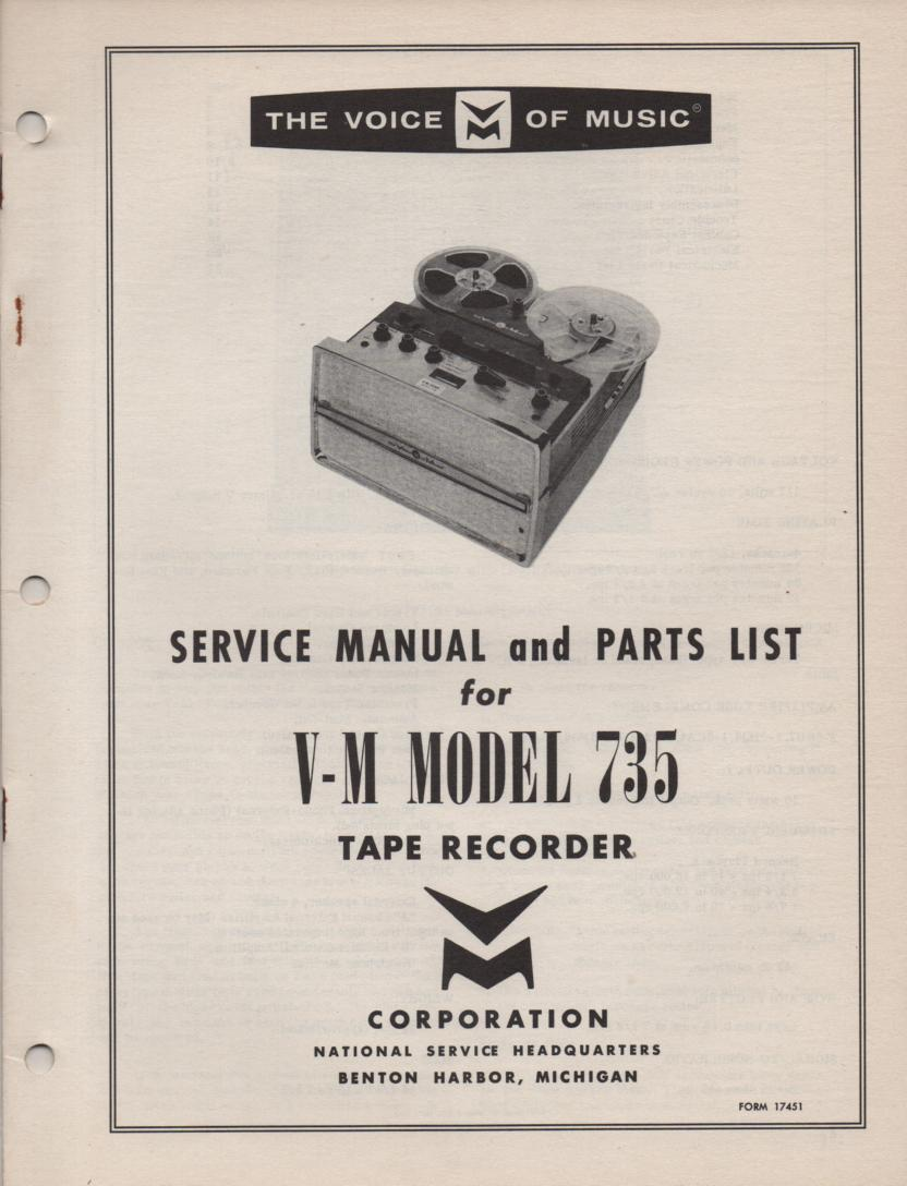 735 Reel to Reel Service Manual  VOICE OF MUSIC
