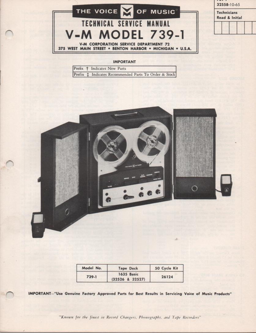 739-1 Reel to Reel Service Manual  VOICE OF MUSIC
