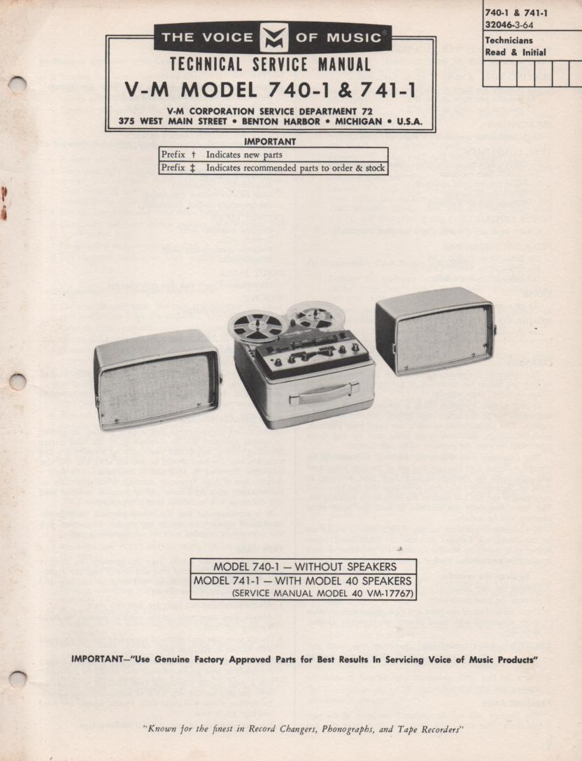 740-1 741-1 Reel to Reel Service Manual  VOICE OF MUSIC