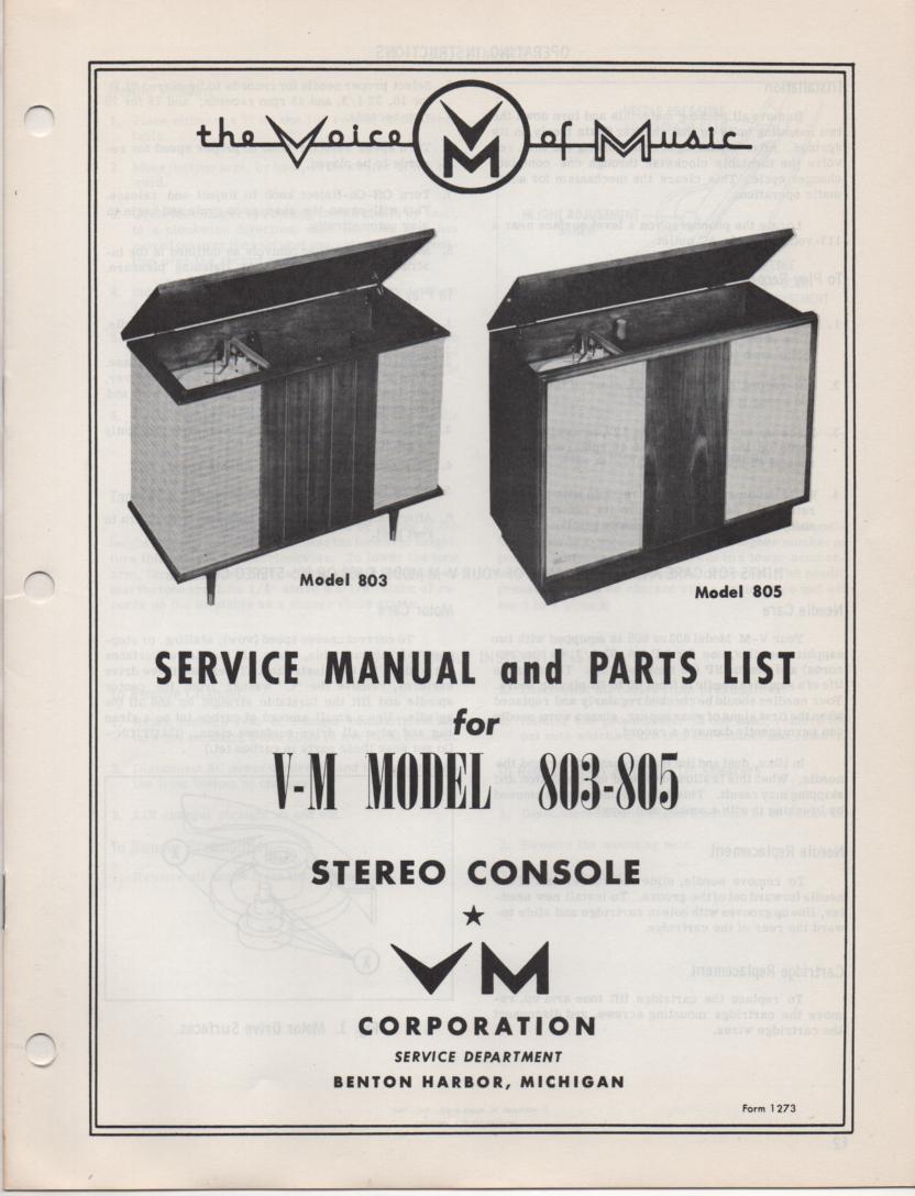 803 805 Console Service Manual