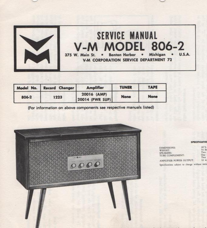 806-2 Console Service Manual comes with 1223 20014 and 20016 manuals...