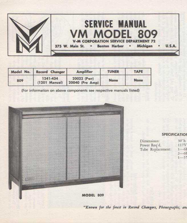 809 Console Service Manual... Comes with 1201 record changer manual and 20022 20040 manuals...
