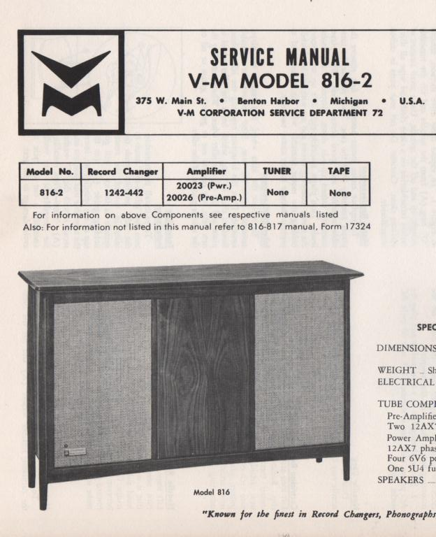 816-2 Console Service Manual,. comes with 20026 pre-amp manual.  no power or changer manual