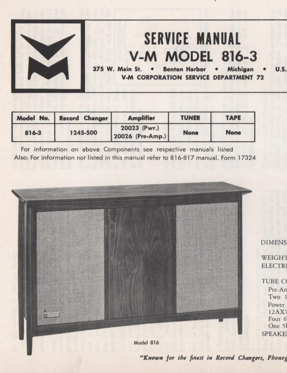816-3 Console Service Manual... comes with 20026 pre-amp manual. no power or changer manual
