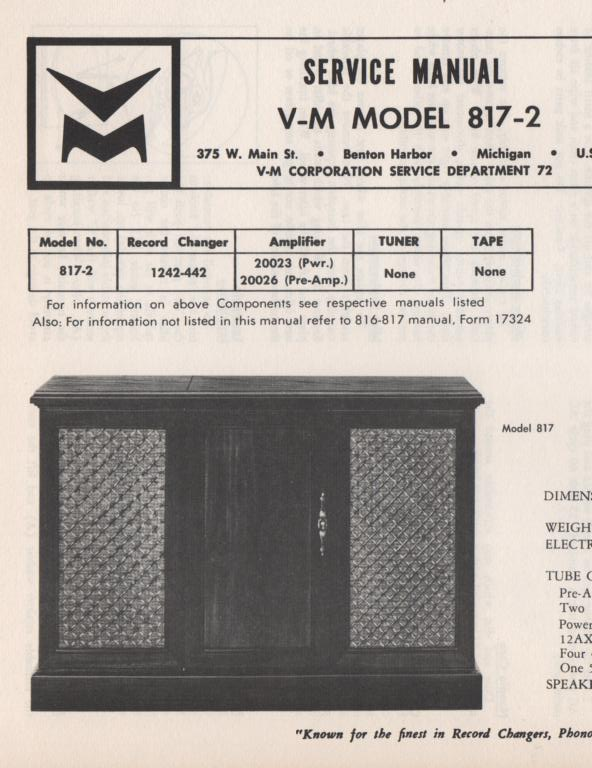 817-2 Console Service Manual. Comes with 20026 pre-amp manual. no power or changer manual